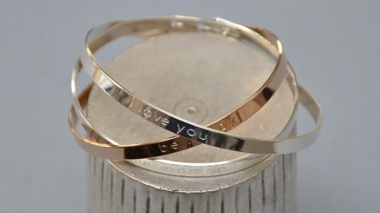Bracelet jonc large Argent ou Plaqué Or avec message