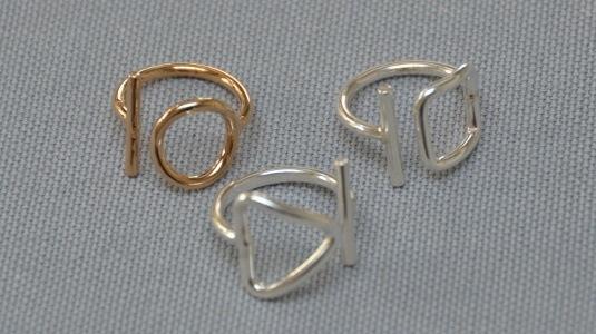 Bague Argent ou Plaque Or, motif rond,carre,triangle