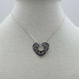 Collier coeur arabesque sur chaîne Argent