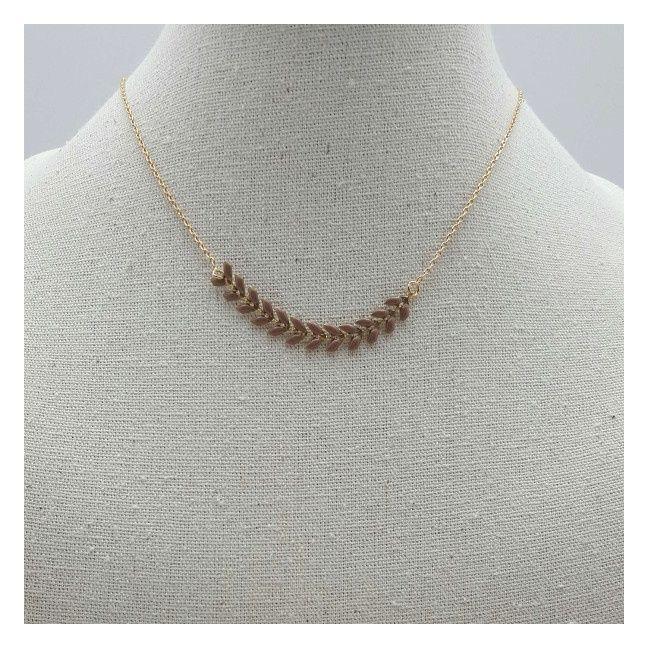 Collier maille épi horyzontale avec une chaîne plaqué Or