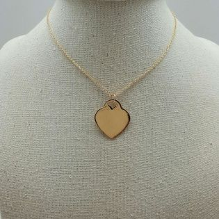 Collier coeur plein sur chaine en plaqué Or