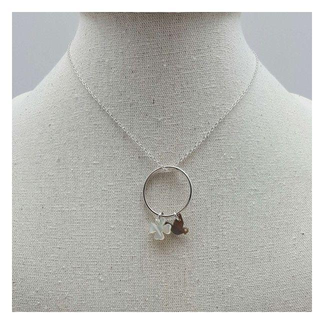 Collier anneau deux breloques nacress