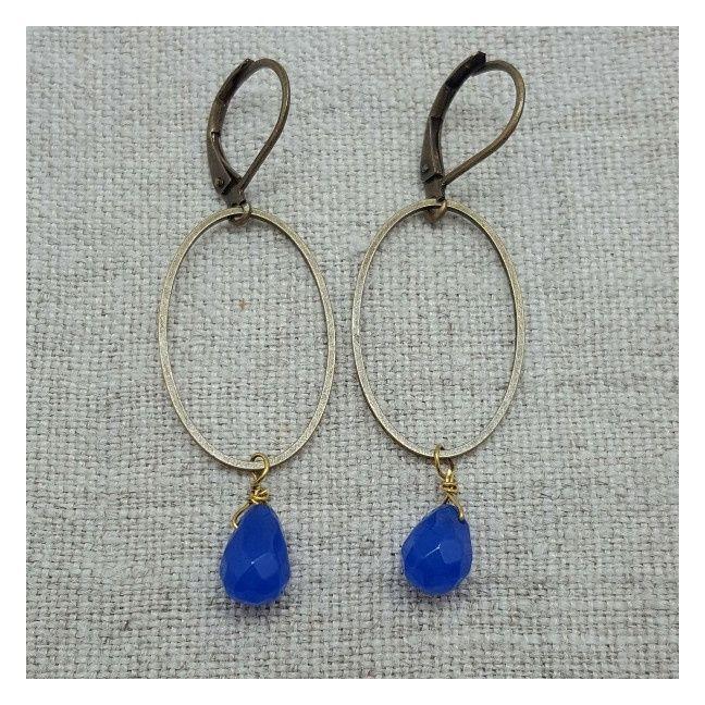 Boucle d'oreille ovales et perles