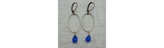 Boucles d'oreilles ovale et perle colorée