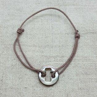 Bracelet cible trèfle nacre sur lien coton
