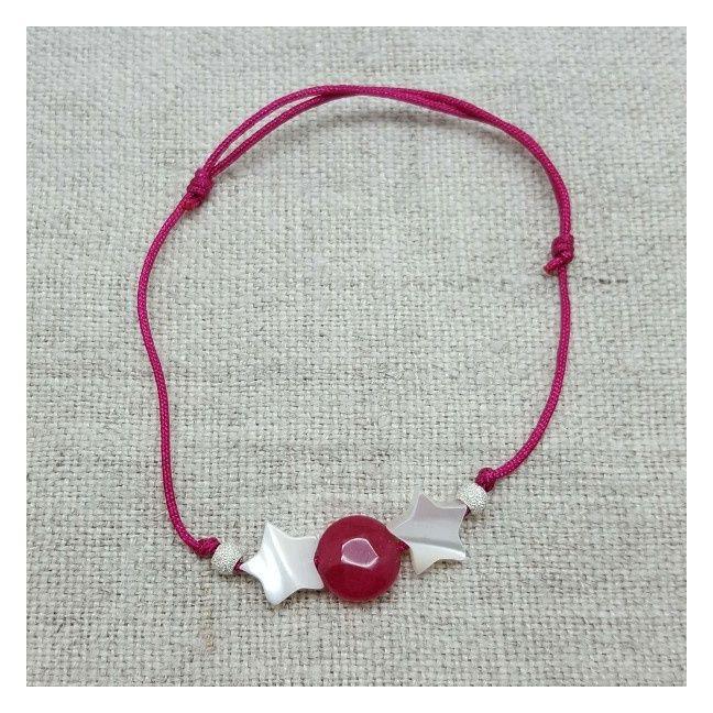 Bracelet multi étoiles en nacre sur lien fin satiné rose