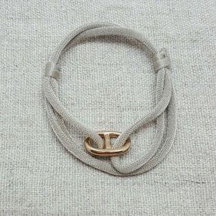 Bracelet maille marine plaqué Or monté sur un lien double èlastique