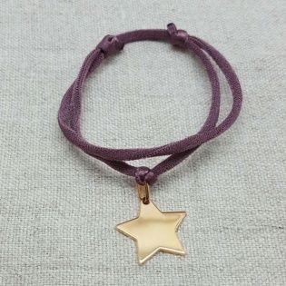 Bracelet étoile plaqué Or sur lien elastique double tour