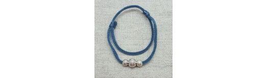Bracelet 3 perles striées double tour lien élastique