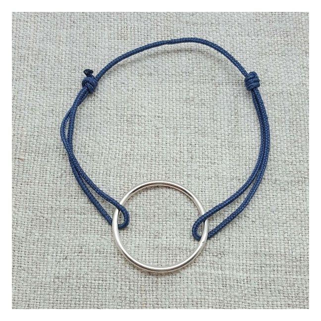 Bracelet anneau Argent 20mm sur lien coton