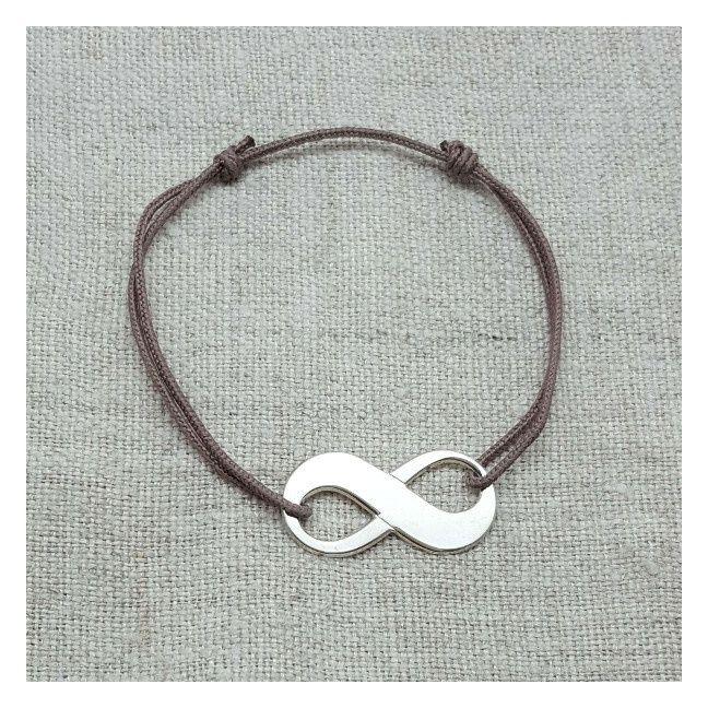 Bracelet Infini argent sur lien coton