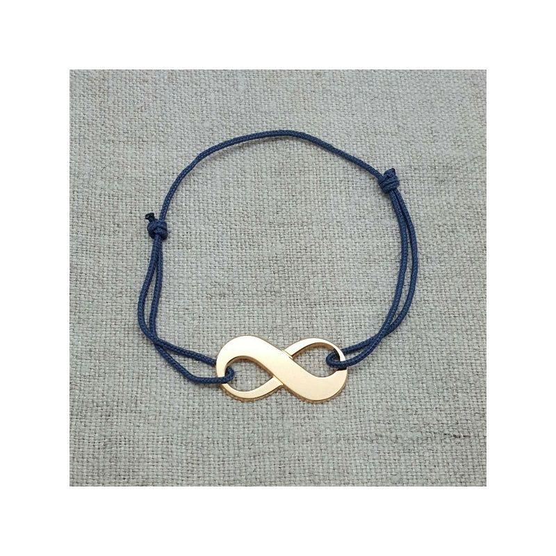 bracelet infini argent ou plaqu or sur lacet coton taille ajustable. Black Bedroom Furniture Sets. Home Design Ideas