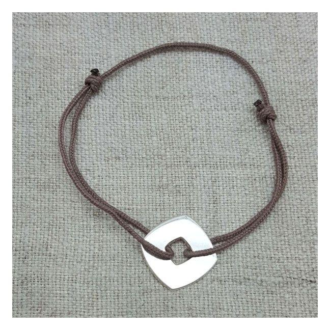 Bracelet cible carré Argent sur lacet coton