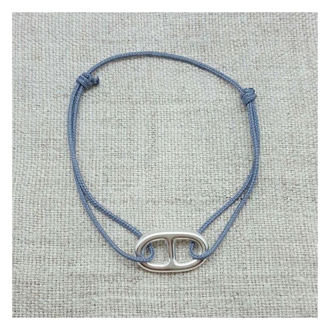 bracelet maille marine argent ou plaqu or mont sur lacet coton taille ajustable. Black Bedroom Furniture Sets. Home Design Ideas