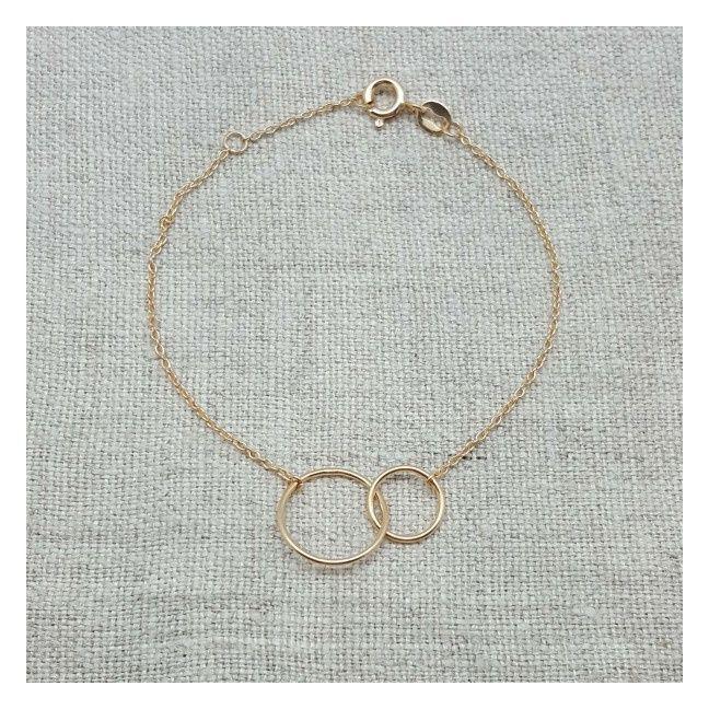 Bracelet deux anneaux Plaqué ORsur chaîne fine
