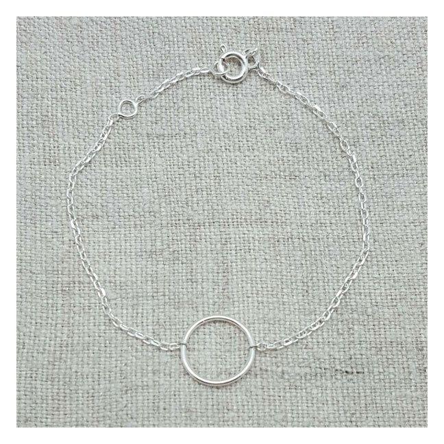 Bracelet un petit anneau Argent sur chaîne fine