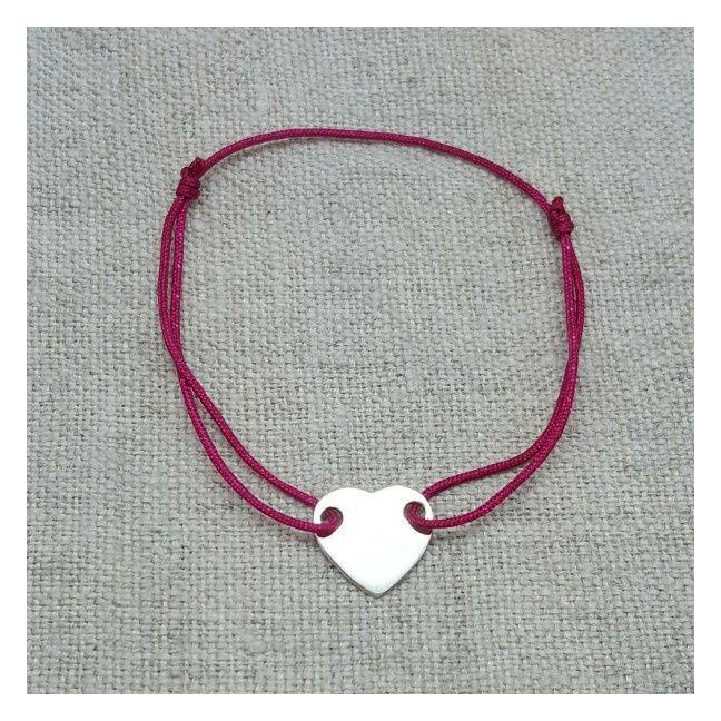 Bracelet coeur plein argent