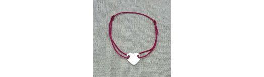 Bracelet lien coeur plein Argent ou Plaqué Or