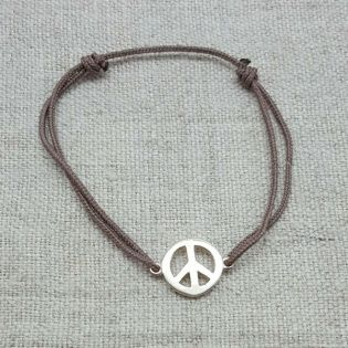 Bracelet Peace and Love argent sur lacet coton fin
