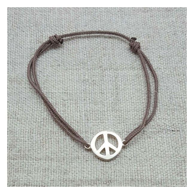 Bracelet Peace and Love argent sur lacet coton fin