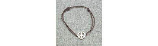 Bracelet Peace and Love Argent ou Plaqué Or