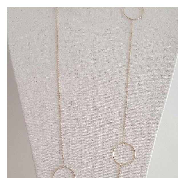 Sautoir Argent ou plaqué Or 3 anneaux 80cm