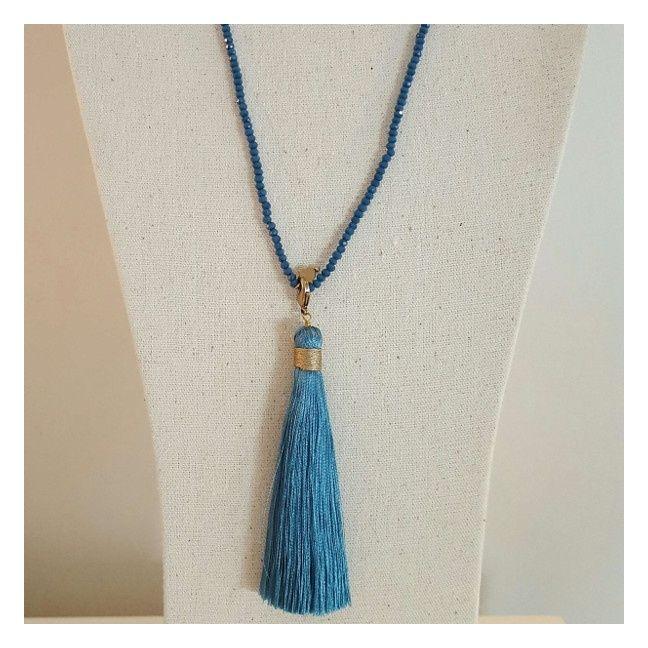 Sautoir pompon et perles facettes pompon bleu jean