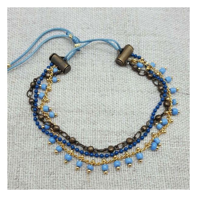 bracelets multirangs 3 chaînes colorées bleu