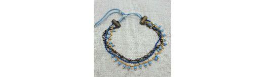 Bracelet manchette multi rangs de 3 chaînes colorées