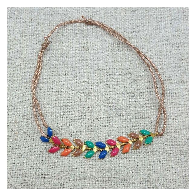 Bracelet epi émaillé multicolore sur lien coton ajustable