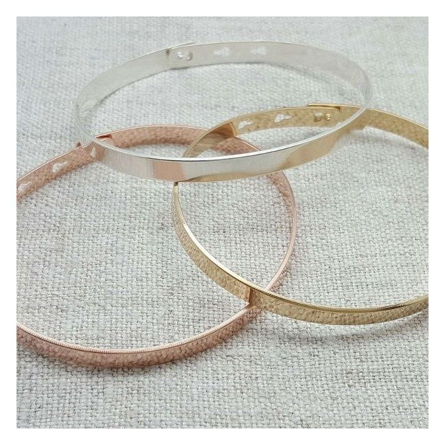 Bracelet Jonc ruban UNI Argent ou Plaqué Or