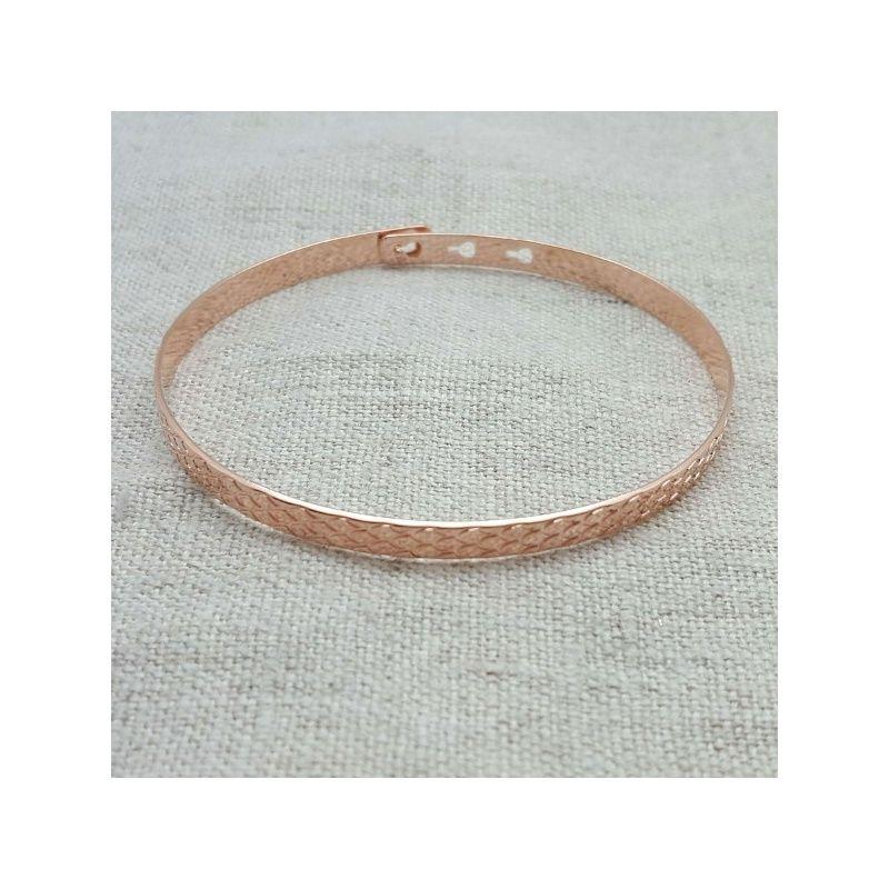 Jonc motif liser ou caille de 5mm argent plaqu or ajustable - Bracelet perle et ruban ...