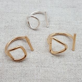 Bague motif Argent ou plaqué Or motif rond, carré ou triangle