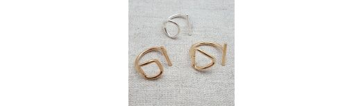 Bague ouverte Argent ou Plaqué Or motif rond, carré ou triangle