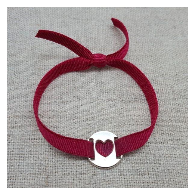 Bracelet cible argent coeur sur élastique