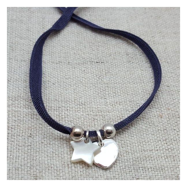 Bracelet breloque coeur argent et étoile nacre
