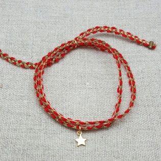 Bracelet double tour lien coton et breloque plaqué Or