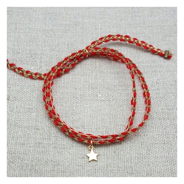 Bracelet double lien corail et doré breloque étoile