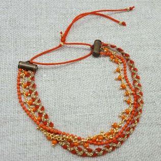 Bracelet multirangs chaînes et lien coton coloré