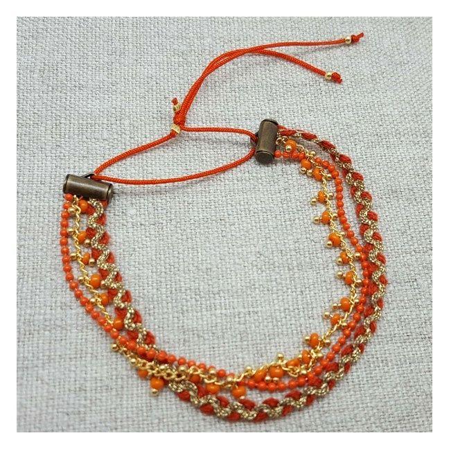 Multirangs chaines et lien coloré corail