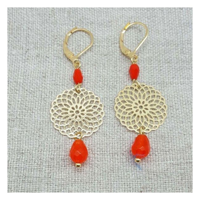 Boucle d'oreille arabesque ronde et perle orange