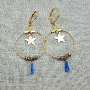 Boucles d'oreilles créole, étoile et pompon