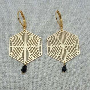 Boucle d'oreille géométrique et perle noire