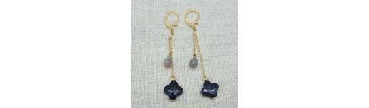 Boucles d'oreilles longues deux pierres