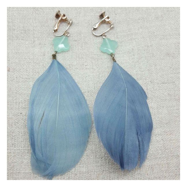Boucle d'oreille grande plume bleu gris