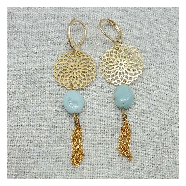Boucle d'Oreille dorée longue arabesque et chaine coloris turquoise