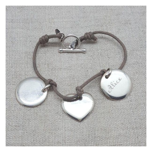 Bracelet breloques à graver médaille ou coeur