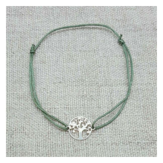 Bracelet arbre de vie argent sur lien fin satiné