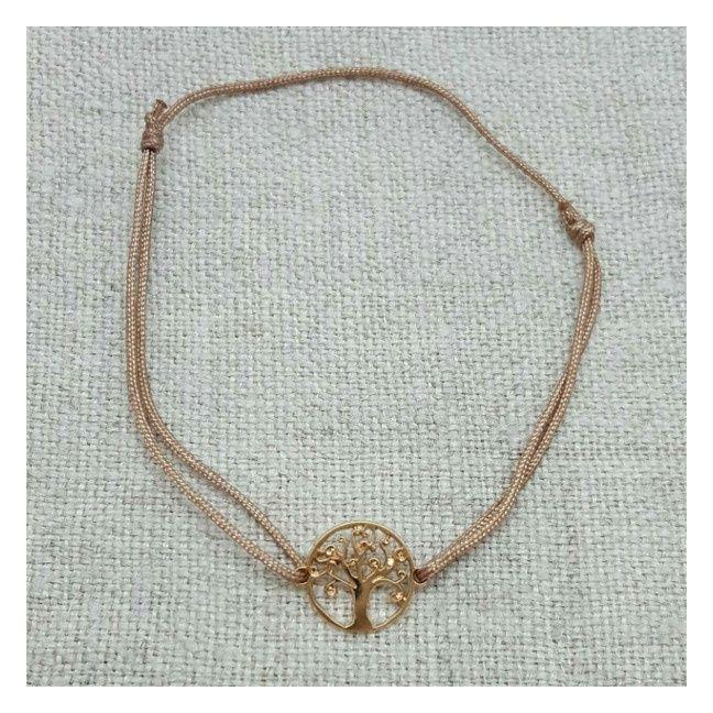 Bracelet arbre de vie plaqué Or sur lien fin satiné
