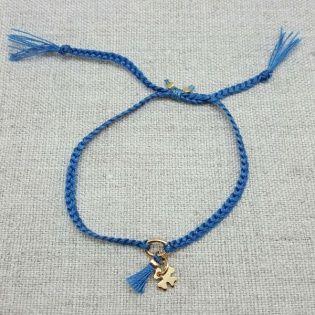 Bracelet lien tressé avec breloque et pompon